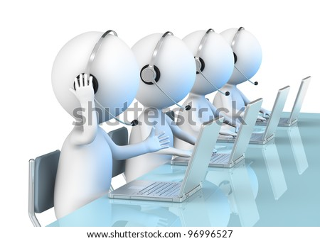 Call Center. 3D little human character X 4 in a Call Center. Business People series. - stock photo