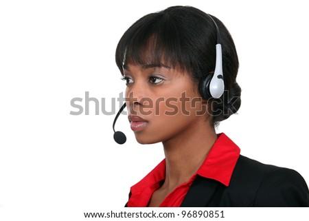 call center employee - stock photo