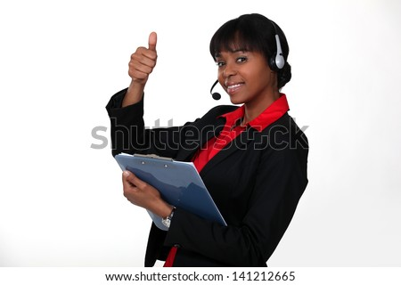 call center employee thumbs up