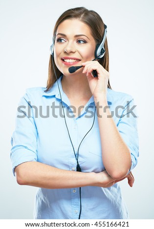Call center female worker operator. Woman Assistant isolated portrait. Business worker.