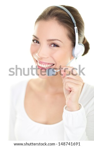 Call center headset woman customer service representative talking giving online help desk support looking at camera friendly happy and smiling isolated on white background. Asian./ Caucasian. - stock photo