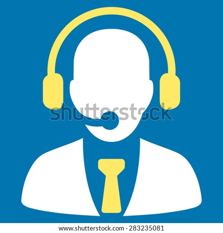 Call center icon from Business Bicolor Set. Glyph style: bicolor flat symbol, yellow and white colors, rounded angles, blue background.