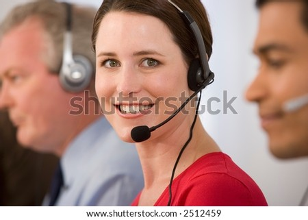 Call Center Lady on Headphone - stock photo