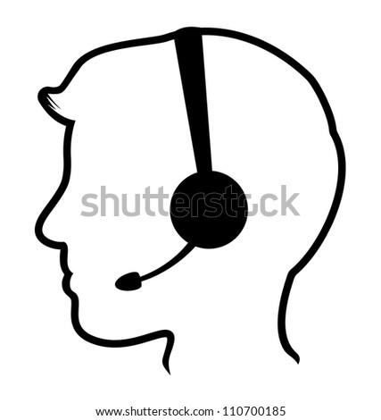 call center man icon - stock photo