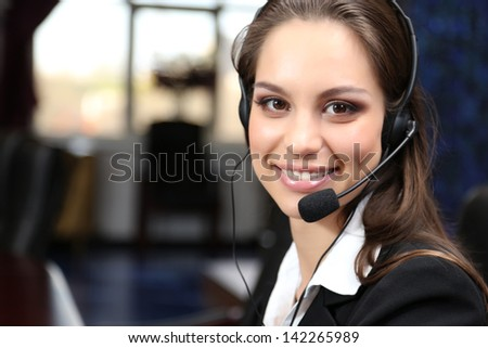 Call center operator at work  - stock photo