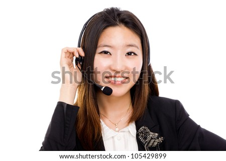 Call center operator business woman. Isolated on white background. - stock photo