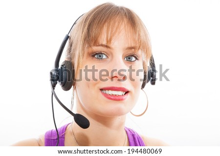 Call center operator businesswoman on white background