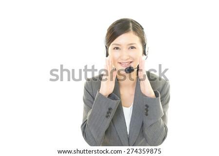 Call center operator cheering - stock photo