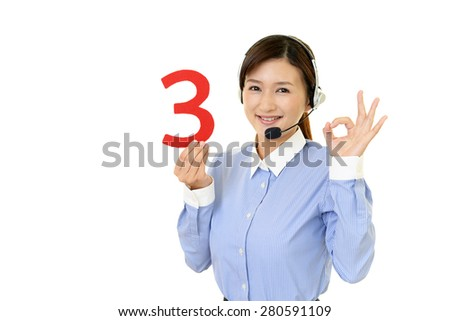 Call center operator holding number 3