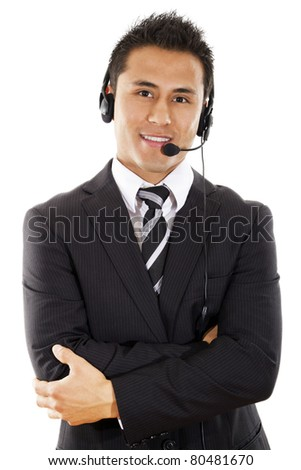Call center operator isolated on white background - stock photo