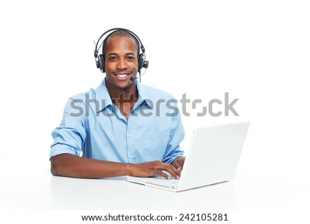 Call center operator man with headsets working. - stock photo