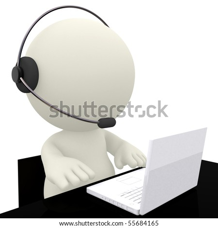 Call center operator sitting at his desk - isolated over a white background - stock photo