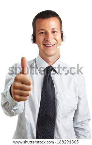Call Center Operator Thumbs Up! - stock photo