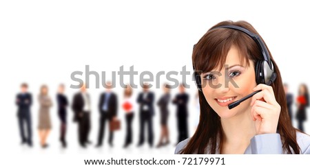 Call center operator with headset and business team - stock photo