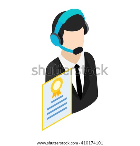 Call center operator with headset icon - stock photo