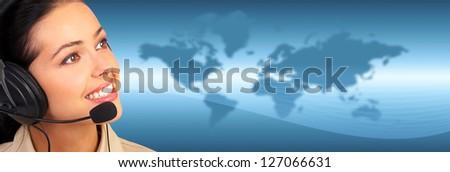 Call center operator woman. Over techno backgournd. - stock photo