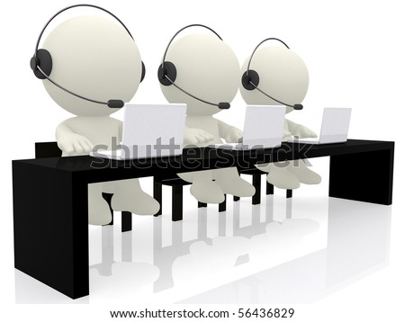 Call center operators sitting at their desks - isolated over a white background - stock photo
