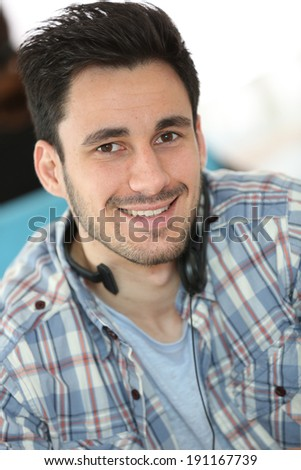 Call center people in office - stock photo