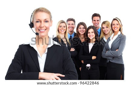 Call center secretary woman with headsets. and a group of workers. Isolated over white background.
