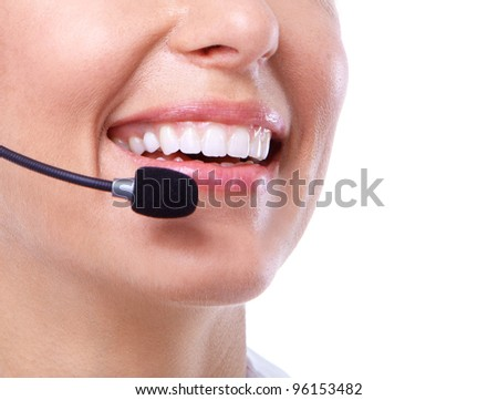 Call center secretary woman with headsets. Isolated over white background. - stock photo
