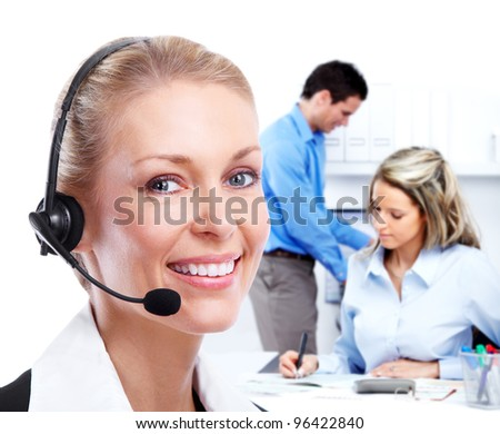 Call center secretary woman with headsets. Office workers. - stock photo