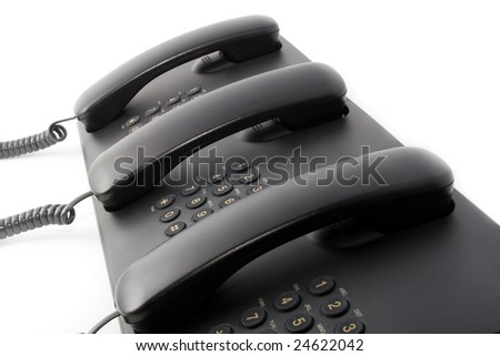 Call center service: group of black phones - stock photo