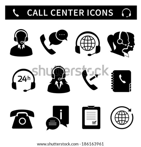 Call center service icons set of customer care phone assistance and headset isolated  illustration - stock photo