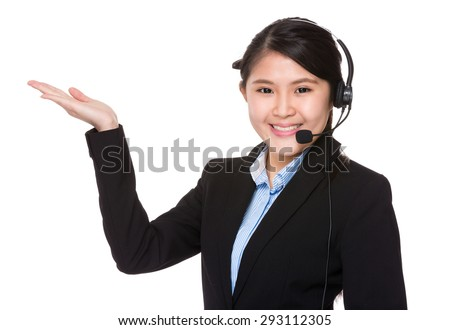 Call center with hand showing blank sign - stock photo