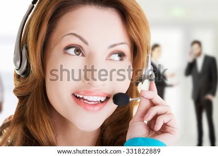 Call center woman close up portrait - stock photo