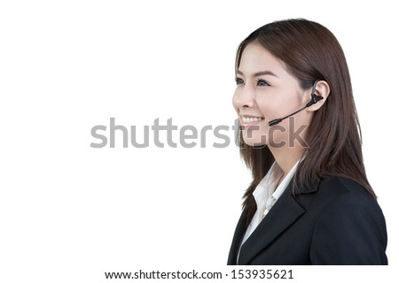 call center woman customer service operator in isolated
