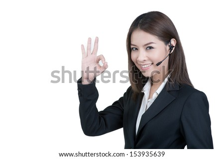 call center woman customer service operator in isolated - stock photo