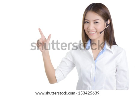call center woman customer service Support phone operator in isolated - stock photo