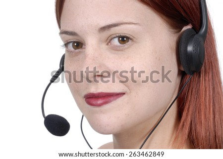 Call center woman, phone, smiling