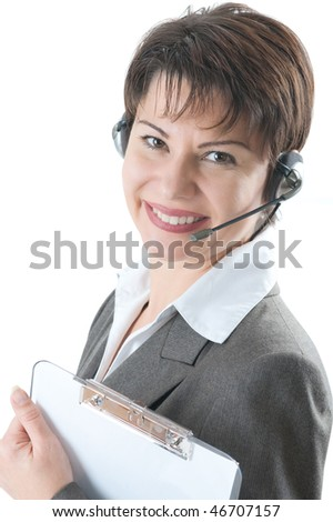 Call center woman with a headset