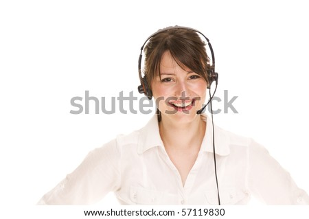 Call center woman with headset. Beautiful smiling caucasian woman isolated on white background. - stock photo