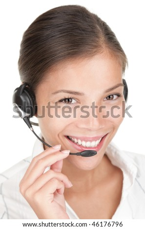Call center woman with headset. Beautiful smiling mixed race chinese / caucasian woman isolated on white background. - stock photo