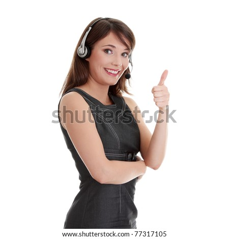 Call center woman with headset.  Isolated on white