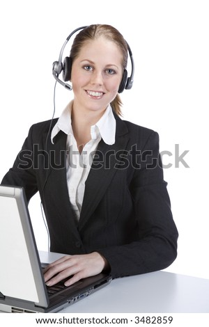 Call center woman with laptop and headset