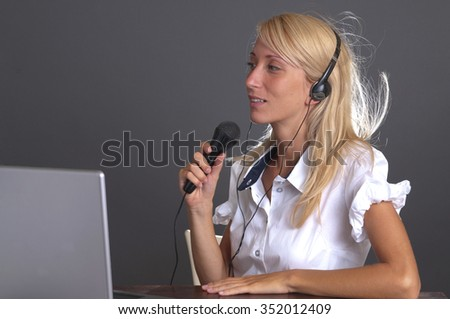 Call center woman with microphone