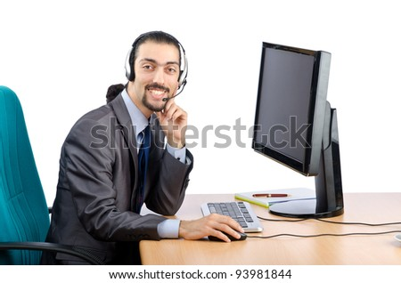 Call center worker on white - stock photo