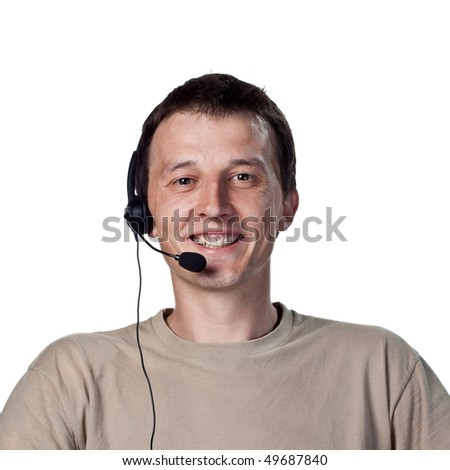 Call center worker smiling to camera - stock photo