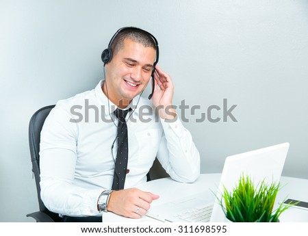 call centre agent with his headset
