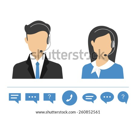 call centre operators with headset. Flat moderm style - stock photo