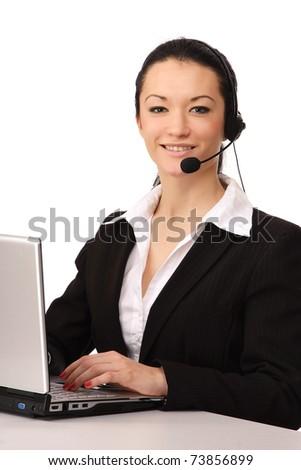 Call customer service girl working - stock photo