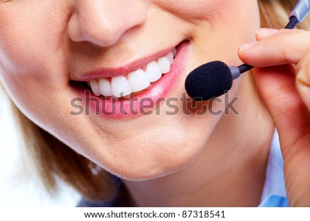 Call customer woman with headset. Isolated over white background - stock photo