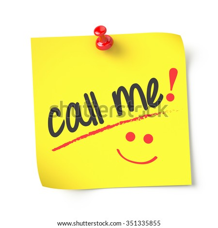 Call Me , yellow note paper , isolated , 3d render - stock photo