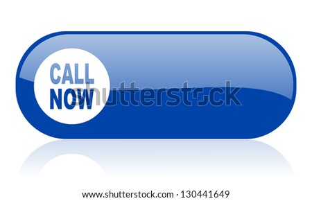 call now blue web glossy icon - stock photo