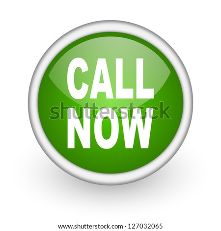 call now green circle glossy web icon on white background - stock photo