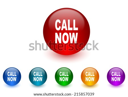 call now internet icons colorful set - stock photo