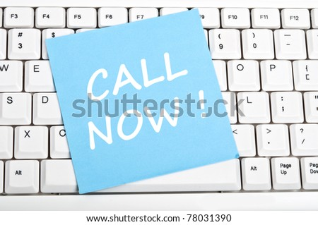 Call now mesage on keyboard - stock photo